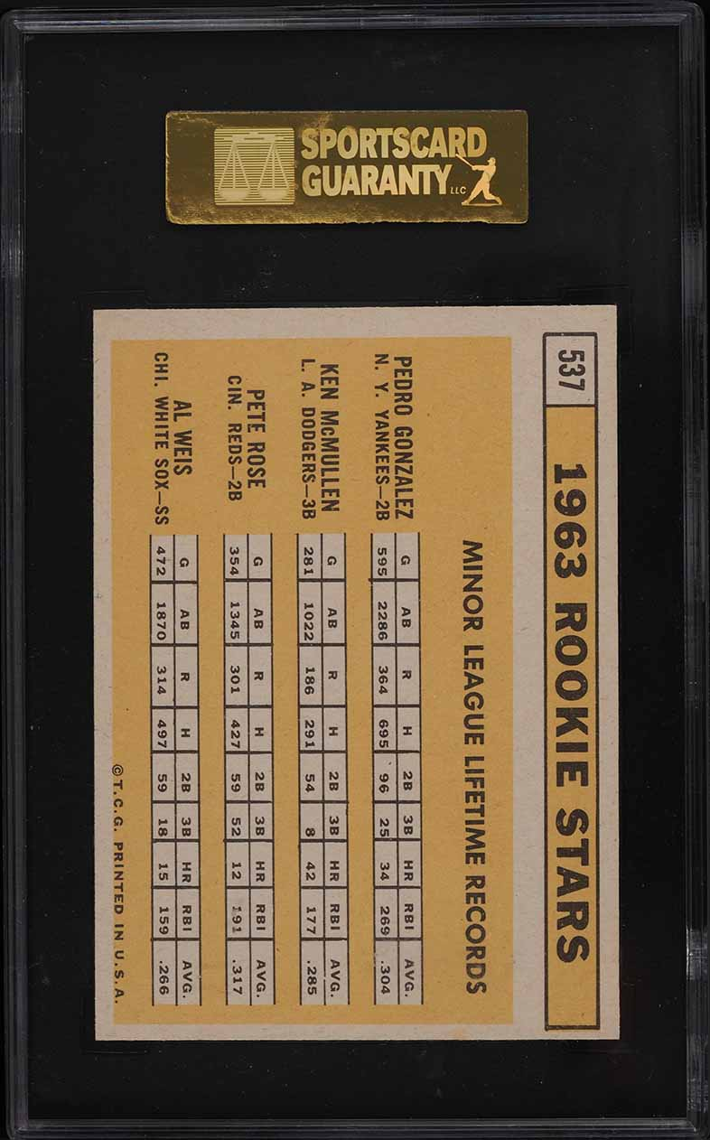1963 Topps Pete Rose ROOKIE RC #537 SGC 9 MINT - Image 2