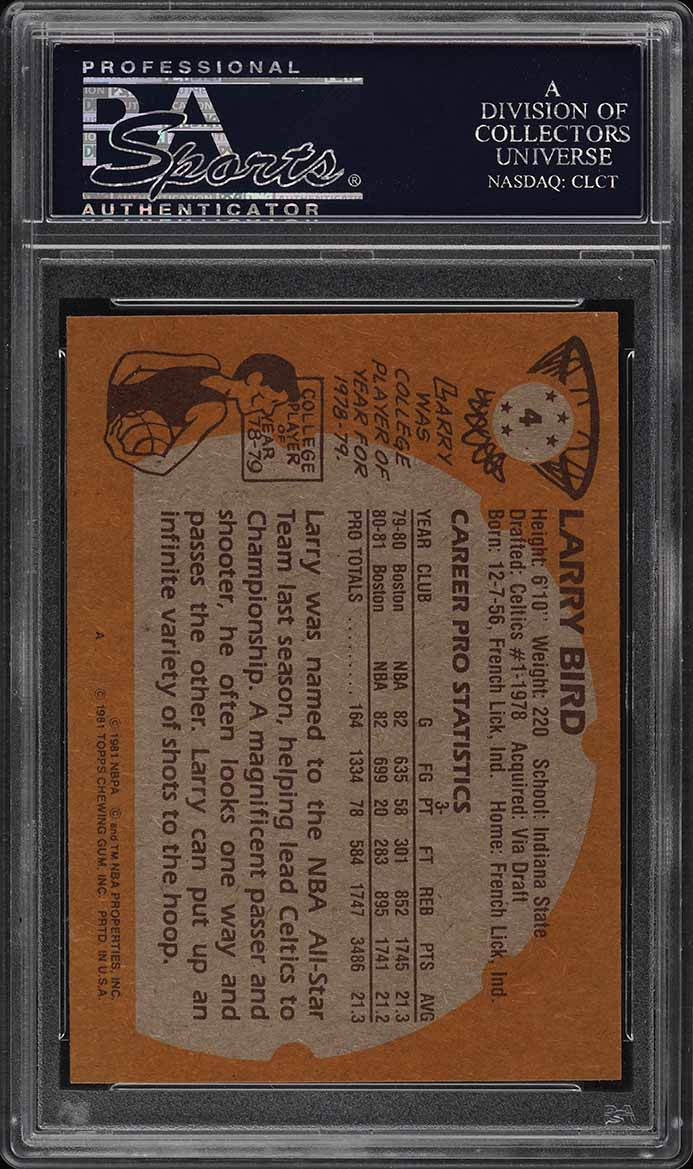 1981 Topps Basketball Larry Bird #4 PSA 8 NM-MT (PWCC) - Image 2