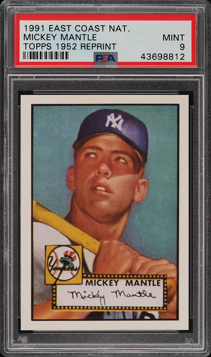 1991 Topps East Coast National 1952 Reprint Mickey Mantle PSA 9 MINT (PWCC) - Image 1