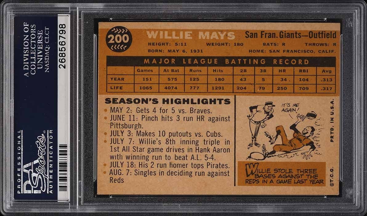 1960 Topps Willie Mays #200 PSA 6 EXMT - Image 2