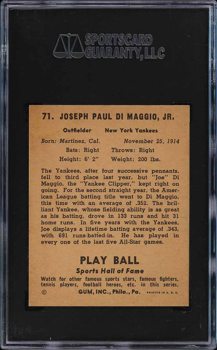 1941 Play Ball Joe DiMaggio #71 SGC 8 NM-MT (PWCC) - Image 2