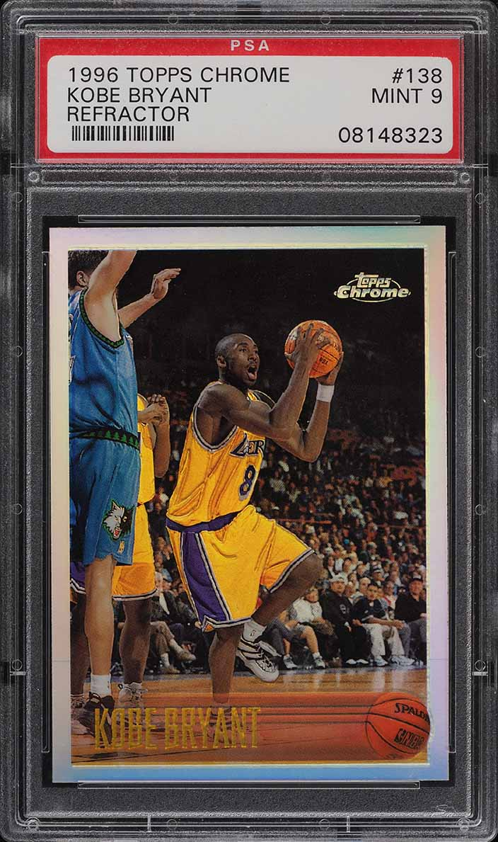 1996 Topps Chrome Refractor Kobe Bryant ROOKIE RC #138 PSA 9 MINT (PWCC) - Image 1