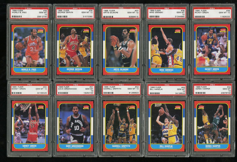 1986 Fleer Basketball COMPLETE PSA 10 SET Johnny Moore Michael Jordan RC (PWCC) - Image 6