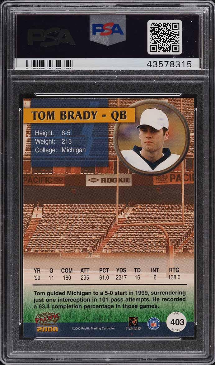 2000 Pacific Football Tom Brady ROOKIE RC #403 PSA 9 MINT - Image 2