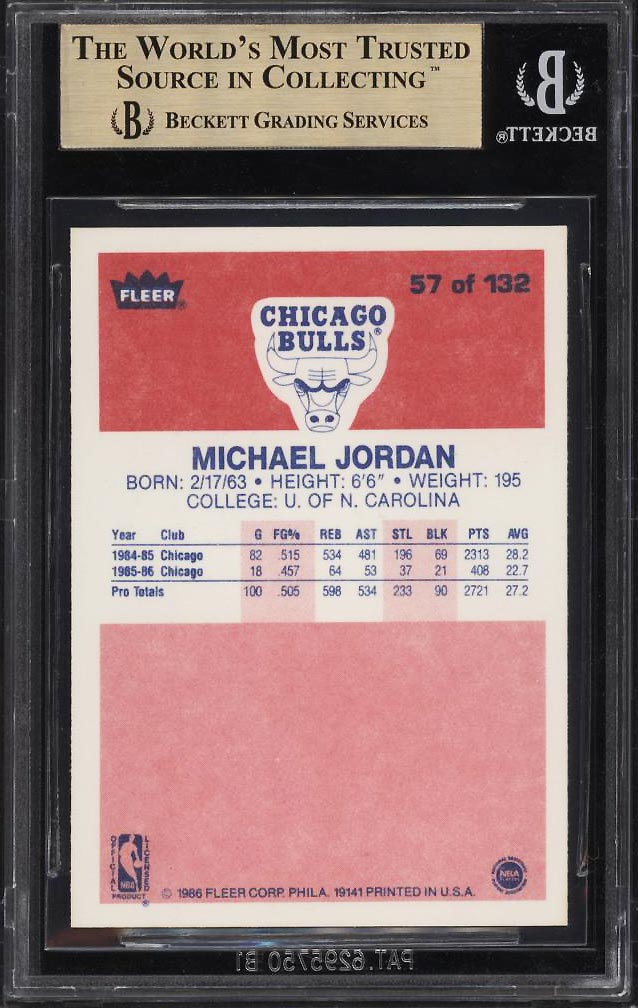 1986 Fleer Basketball Michael Jordan ROOKIE RC #57 BGS 9.5 GEM MINT (PWCC) - Image 2