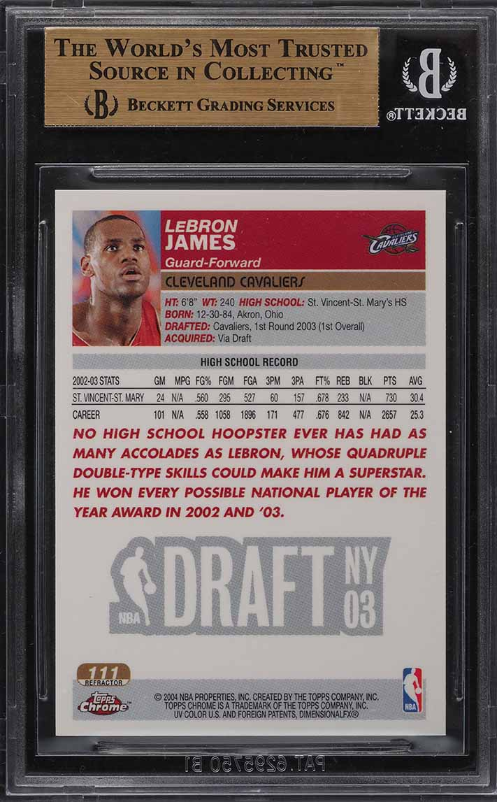 2003 Topps Chrome Refractor LeBron James ROOKIE RC #111 BGS 9.5 GEM MINT - Image 2