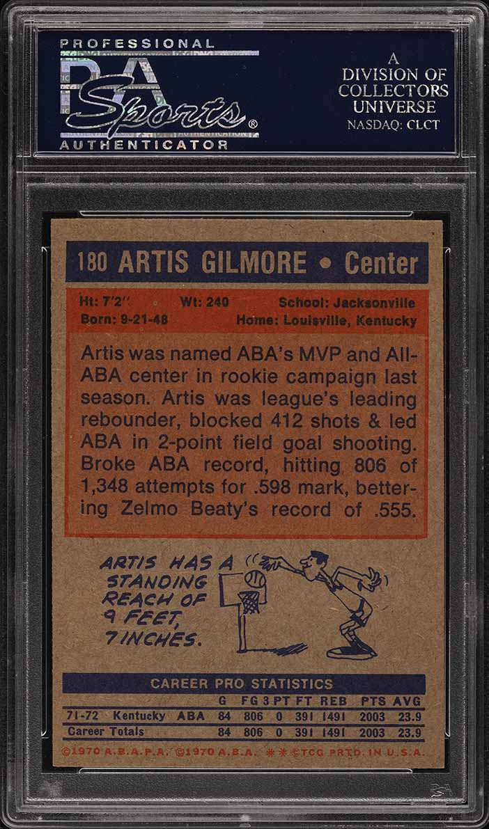 1972 Topps Basketball Artis Gilmore ROOKIE RC #180 PSA 8 NM