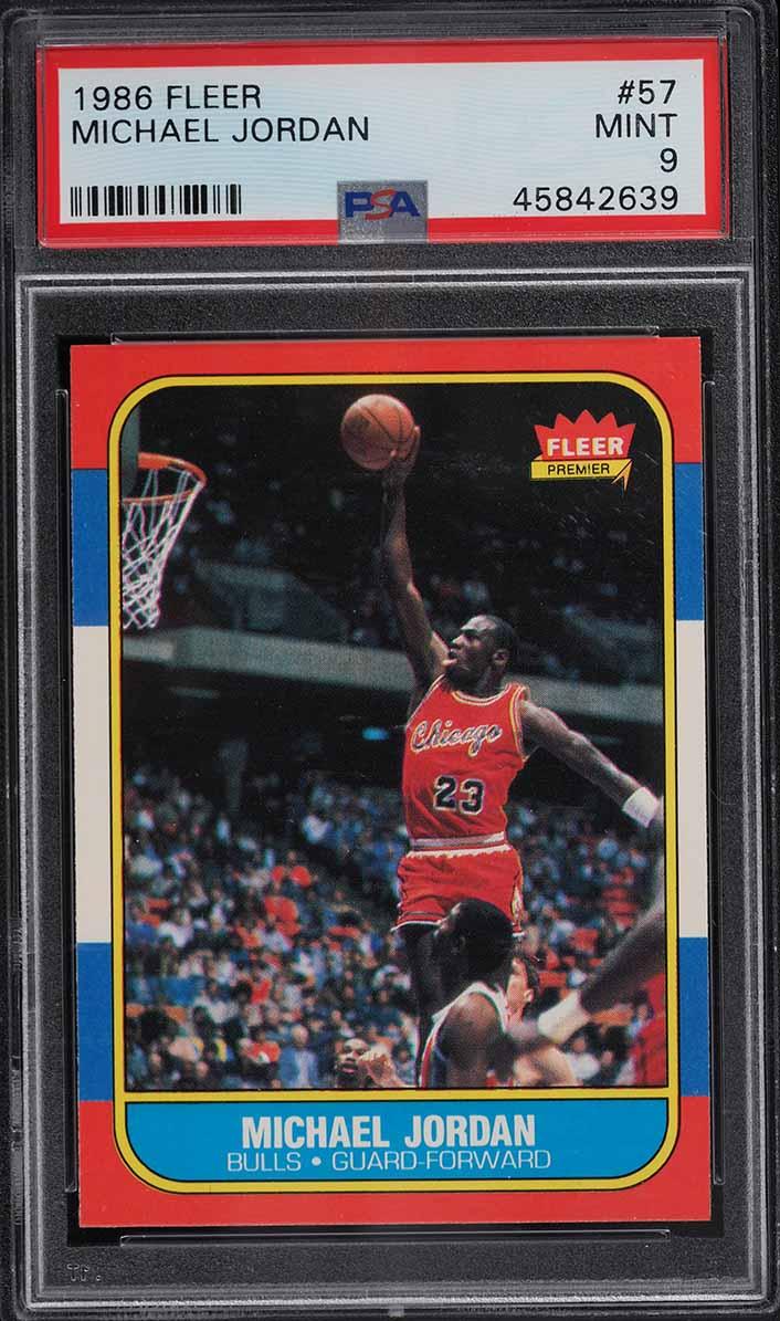 1986 Fleer Basketball Michael Jordan ROOKIE RC #57 PSA 9 MINT - Image 1