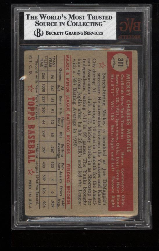 1952 Topps Mickey Mantle #311 BVG 2.5 GD+ (PWCC) - Image 2