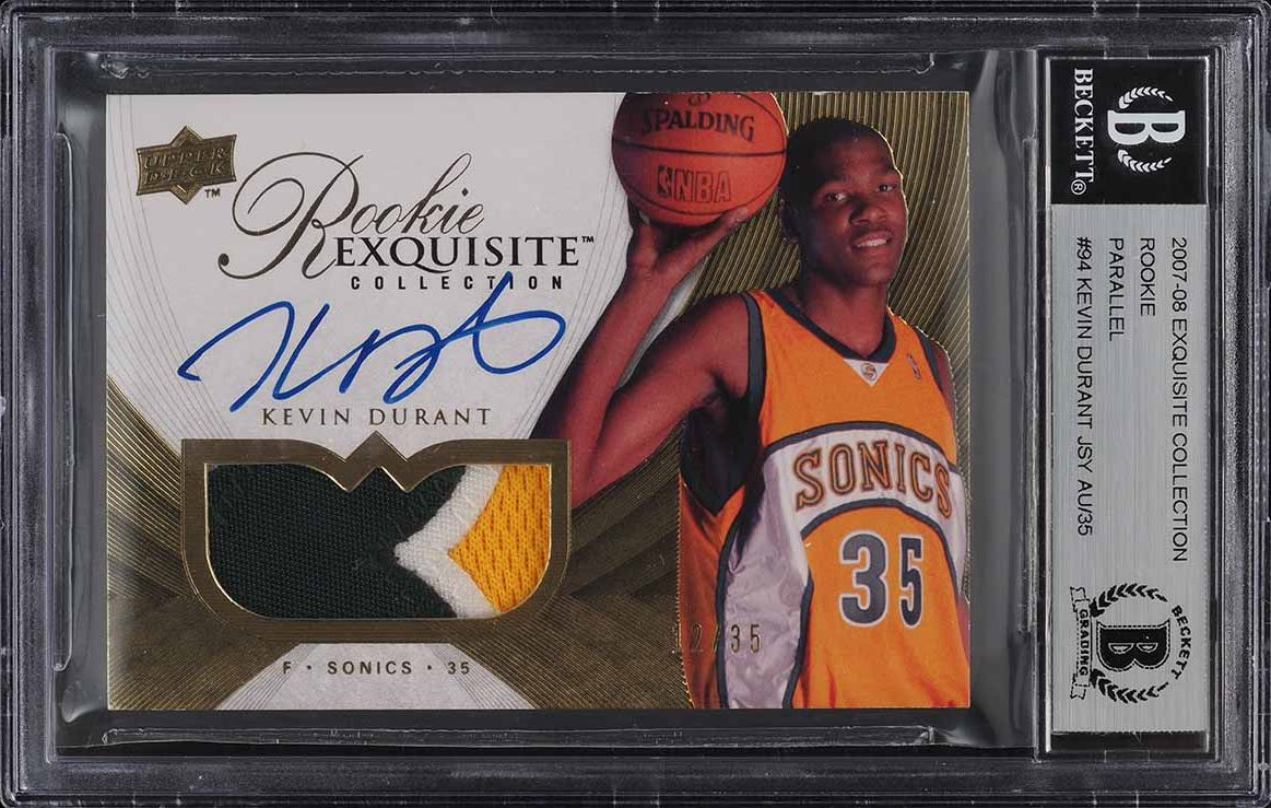 2007 Exquisite Collection Parallel Kevin Durant RC PATCH AUTO /35 BGS Auth - Image 1