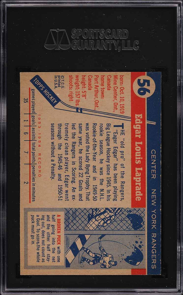 1954 Topps Hockey Edgar Laprade #56 SGC 8.5 NM-MT+ - Image 2