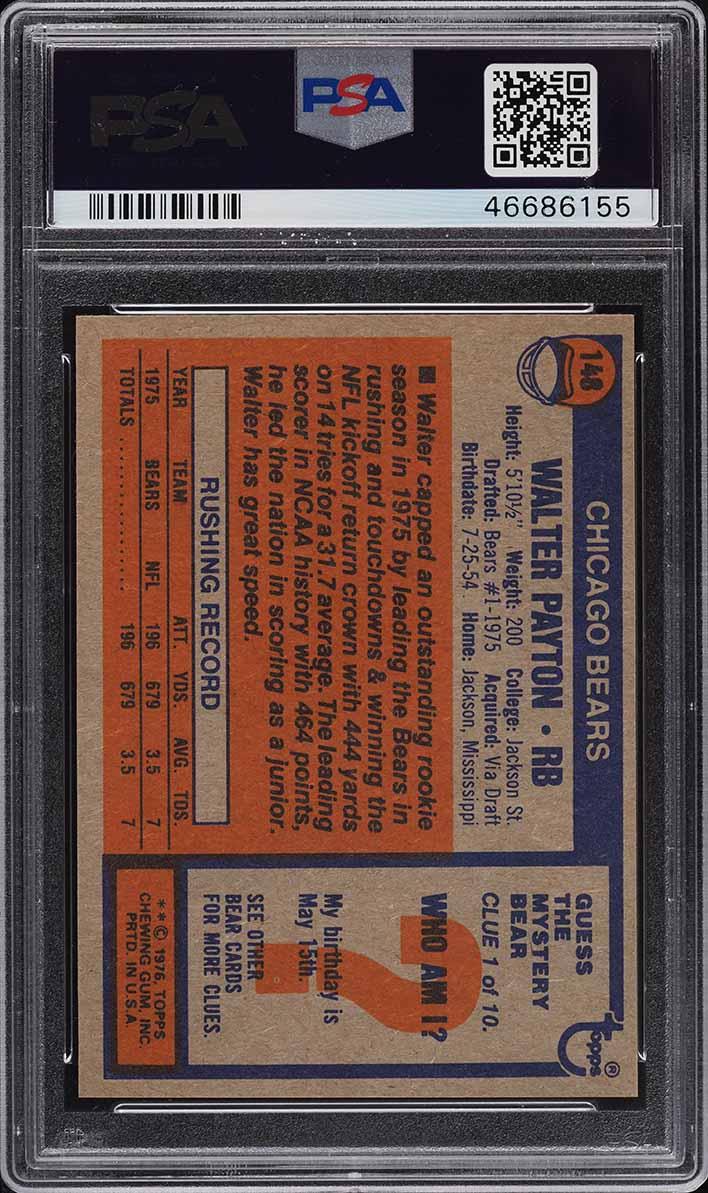 1976 Topps Football Walter Payton ROOKIE RC #148 PSA 10 GEM MINT - Image 2
