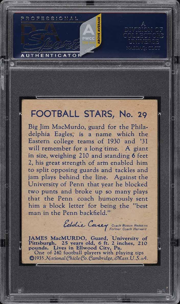 1935 National Chicle Football Jim MacMurdo #29 PSA 4.5 VGEX+ (PWCC-A) - Image 2