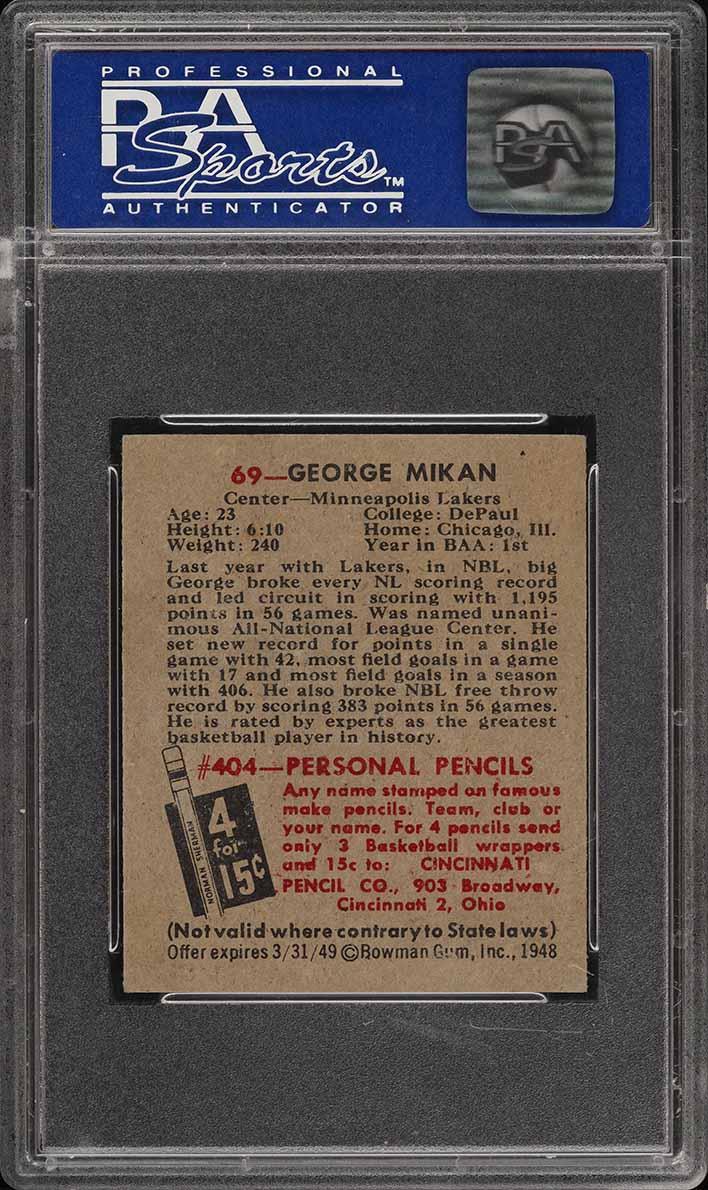 1948 Bowman Basketball George Mikan ROOKIE RC #69 PSA 7 NRMT (PWCC) - Image 2