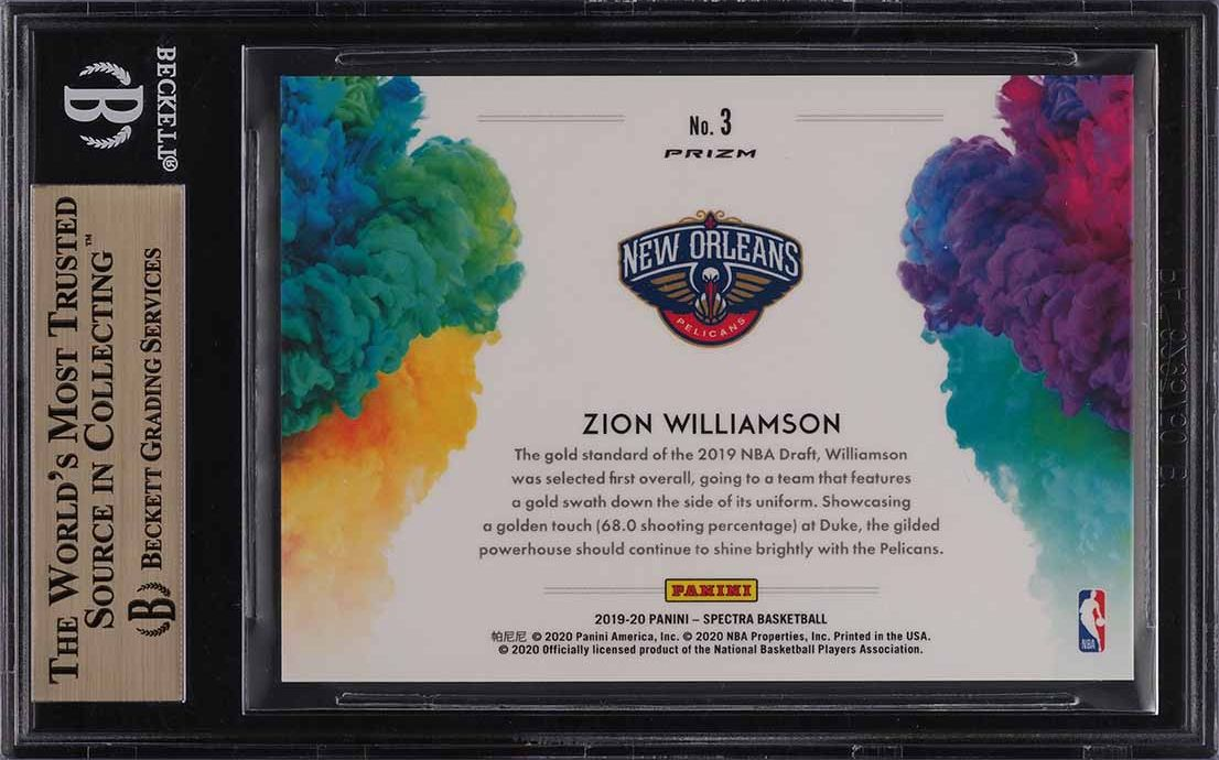 2019 Panini Spectra Color Blast Zion Williamson ROOKIE RC #3 BGS 10 PRISTINE - Image 2