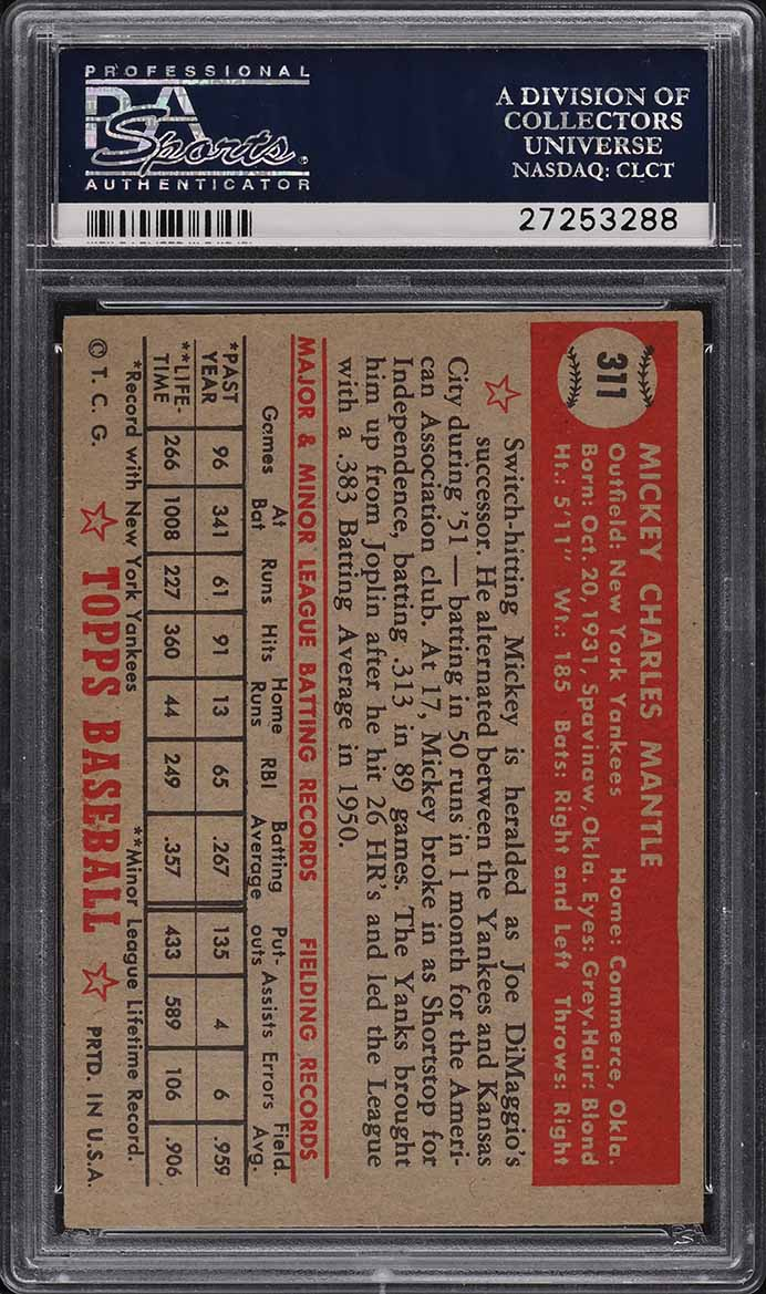 1952 Topps Mickey Mantle #311 PSA 5.5 EX+ - Image 2