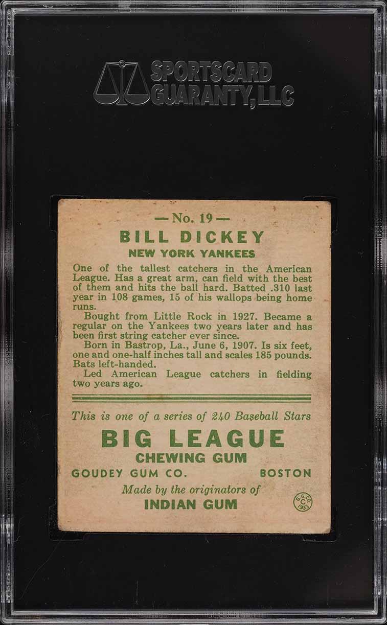 1933 Goudey Bill Dickey #19 SGC 3 VG - Image 2