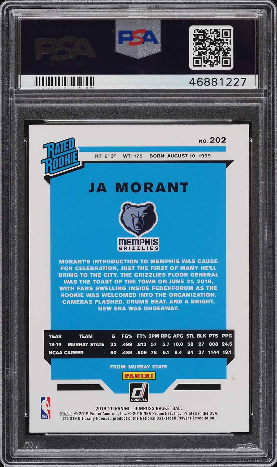 2019 Donruss Basketball Ja Morant ROOKIE RC #202 PSA 10 GEM MINT - Image 2