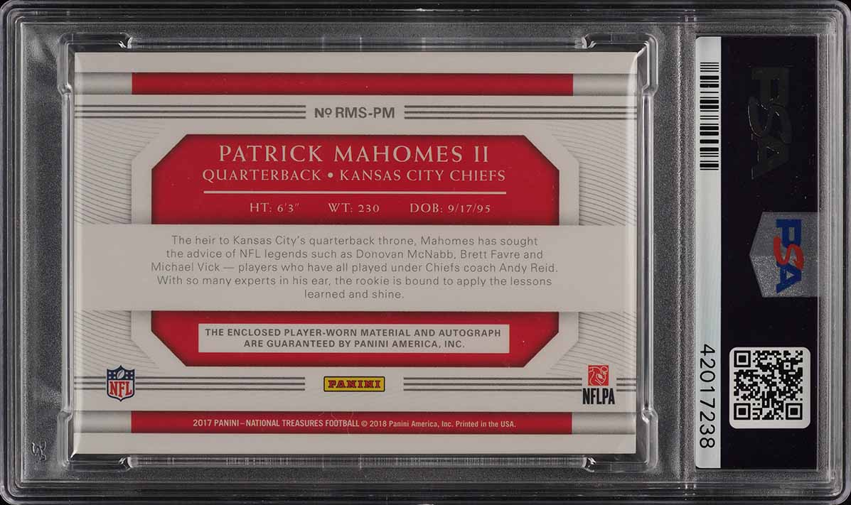 2017 National Treasures Green Patrick Mahomes II RC PATCH AUTO /15 PSA 10 (PWCC) - Image 2