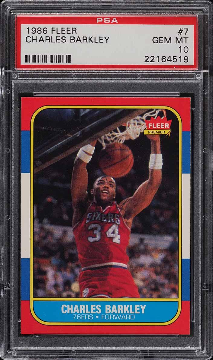 1986 Fleer Basketball Charles Barkley ROOKIE RC #7 PSA 10 GEM MINT (PWCC) - Image 1