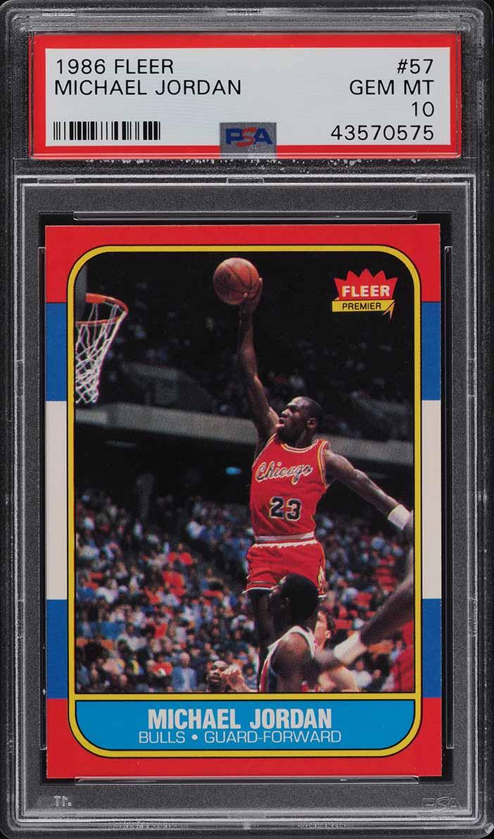 1986 Fleer Basketball Michael Jordan ROOKIE RC #57 PSA 10 GEM MINT - Image 1