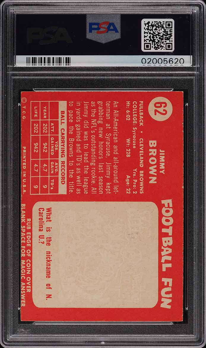 1958 Topps Football Jim Brown ROOKIE RC #62 PSA 8 NM-MT - Image 2