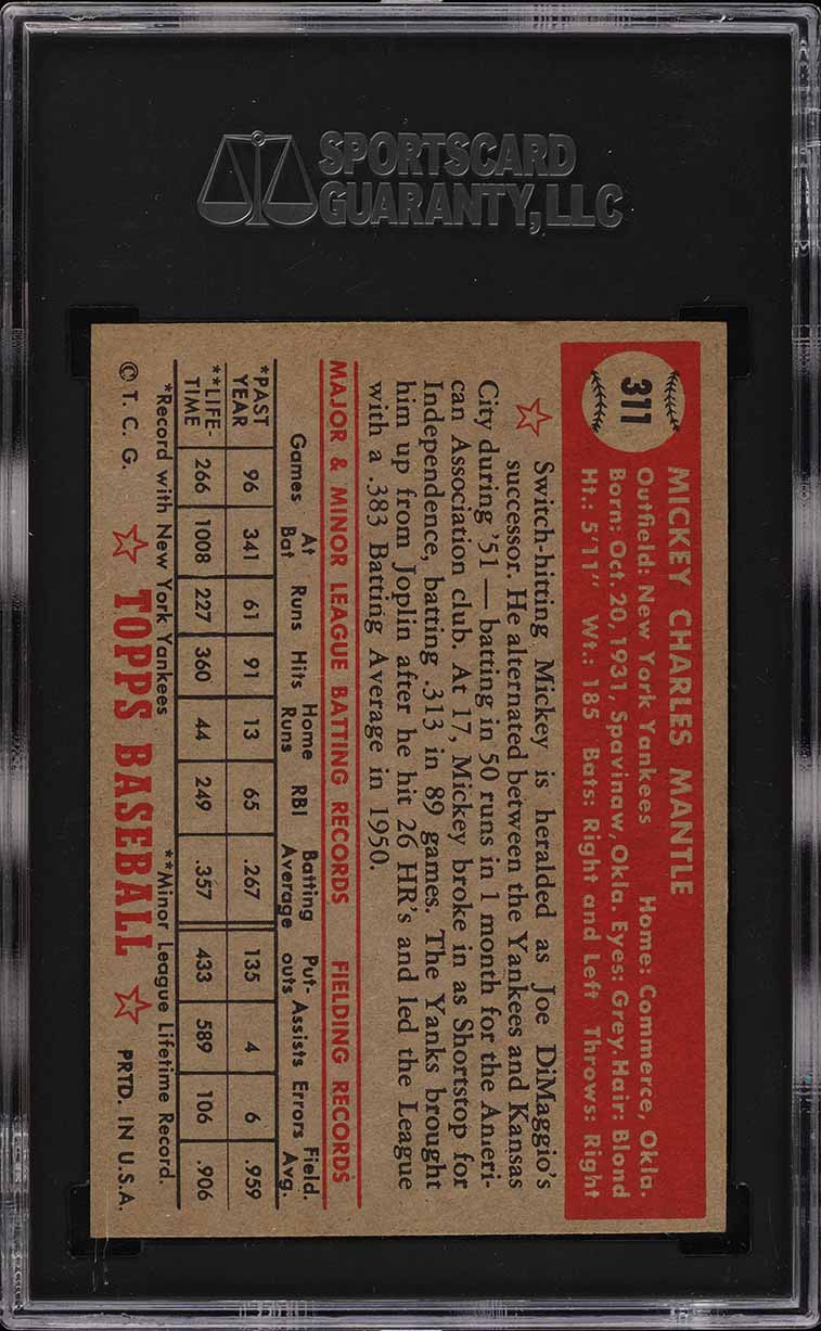 1952 Topps Mickey Mantle #311 SGC 6.5 EXMT+ (PWCC) - Image 2