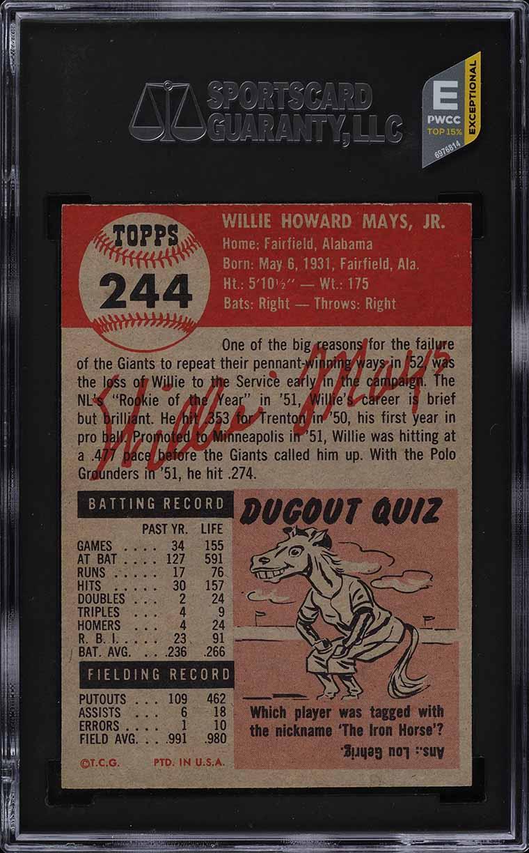 1953 Topps Willie Mays SHORT PRINT #244 SGC 8 NM-MT (PWCC-E) - Image 2