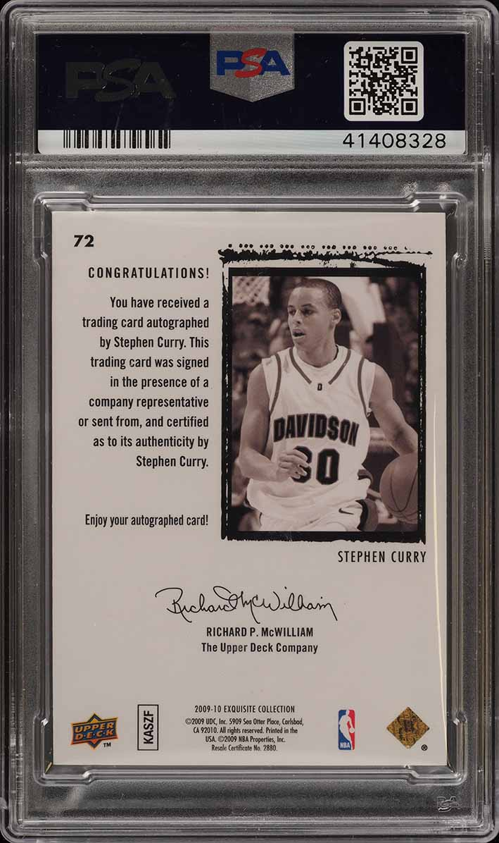 2009 Exquisite Collection Stephen Curry RC PSA/DNA 10 AUTO /225 PSA 10 (PWCC) - Image 2