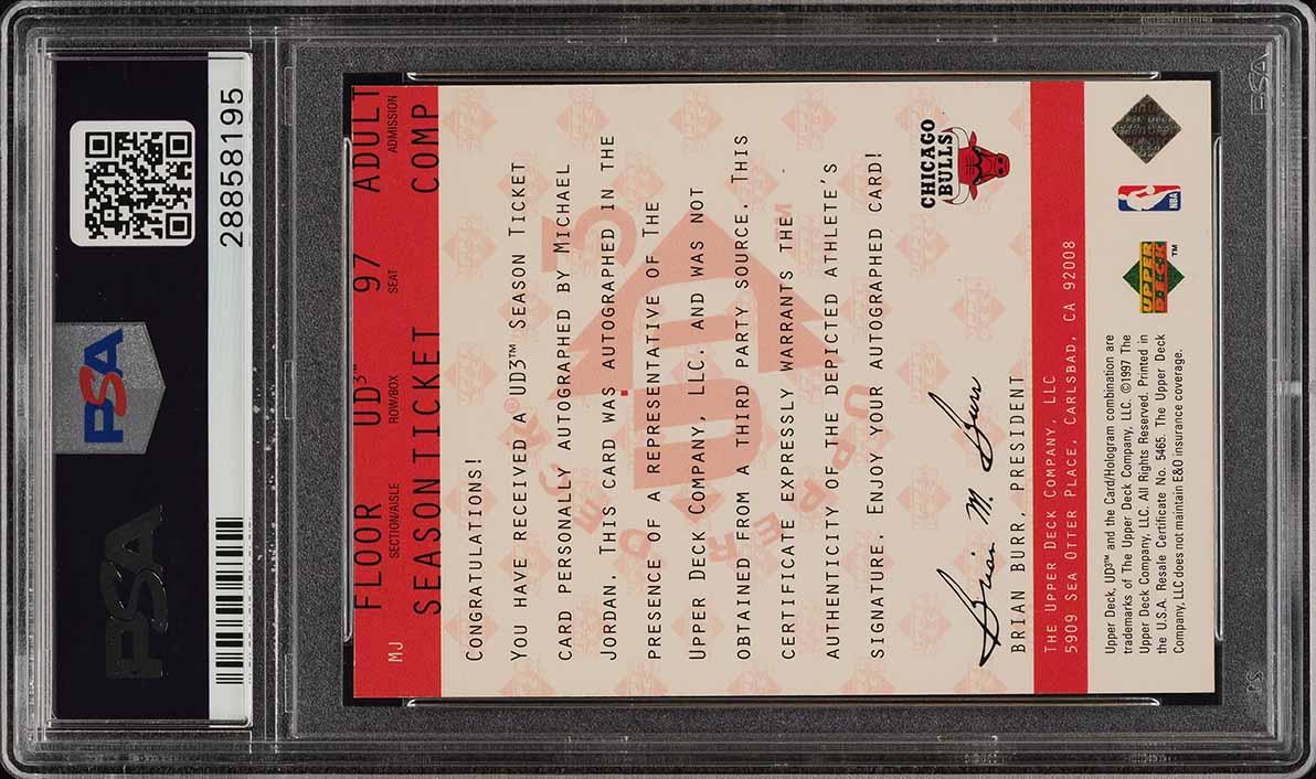 1997 UD3 Season Ticket Michael Jordan PSA/DNA 10 AUTO #MJ PSA 9 MINT (PWCC) - Image 2