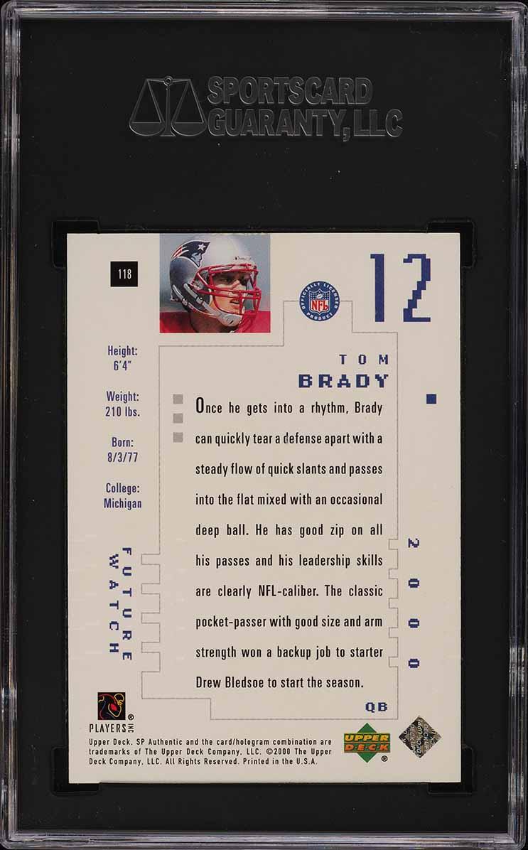 2000 SP Authentic Tom Brady ROOKIE RC /1250 #118 SGC 9.5 MINT+ (PWCC) - Image 2
