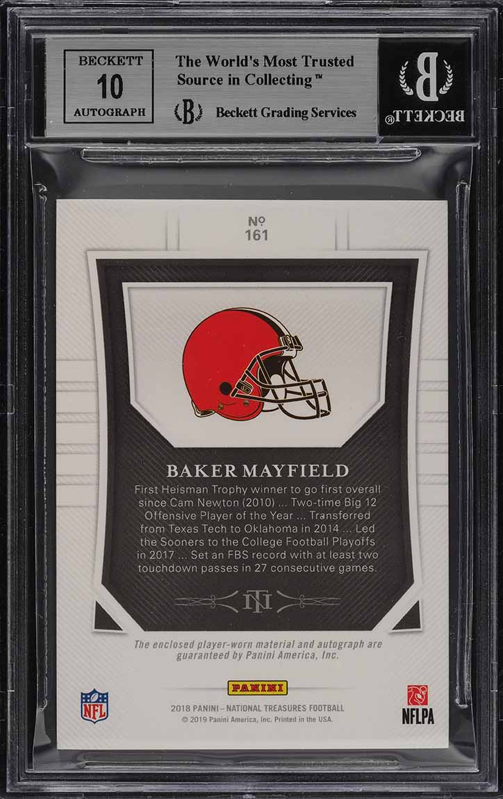 2018 National Treasures Midnight Baker Mayfield RC AUTO PATCH /20 BGS 9 (PWCC) - Image 2