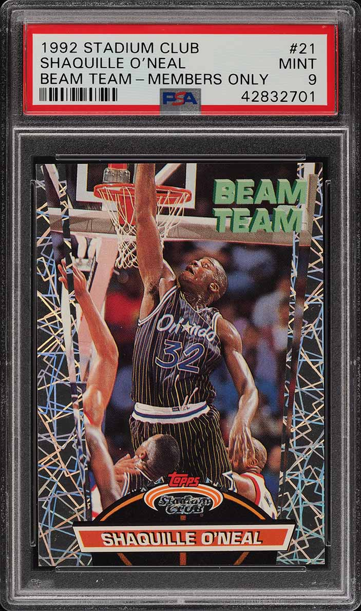 1992 Stadium Club Beam Team Members Only Shaquille O'Neal ROOKIE PSA 9 (PWCC) - Image 1