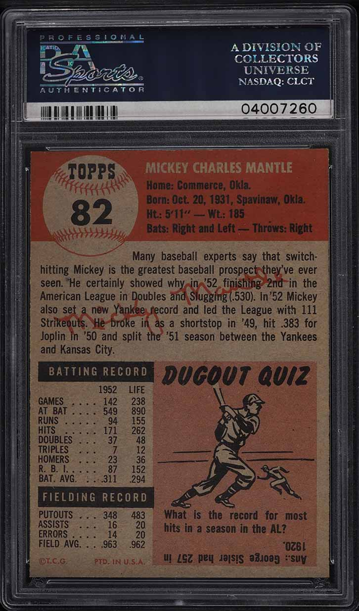 1953 Topps Mickey Mantle SHORT PRINT #82 PSA 8 NM-MT - Image 2