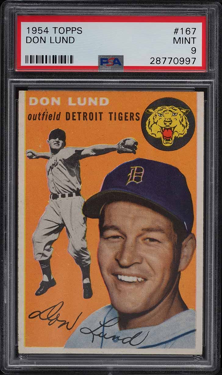 1954 Topps Don Lund #167 PSA 9 MINT - Image 1