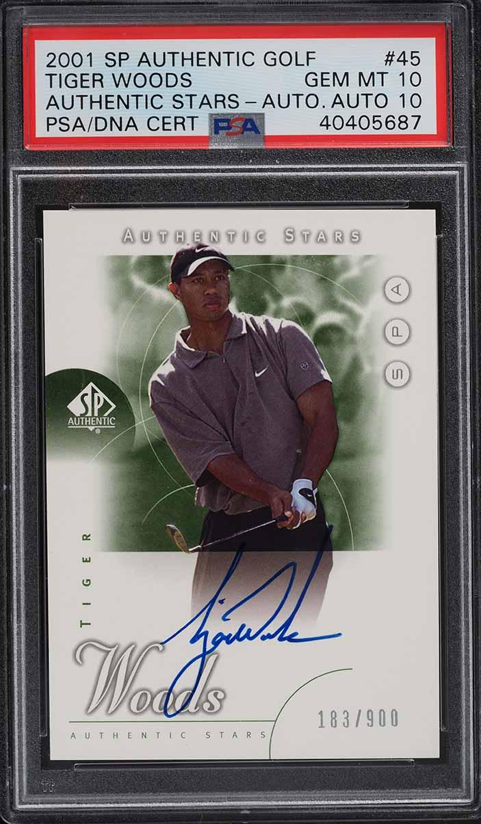 2001 SP Authentic Golf Tiger Woods ROOKIE RC PSA/DNA 10 AUTO #45 PSA 10 GEM MINT - Image 1