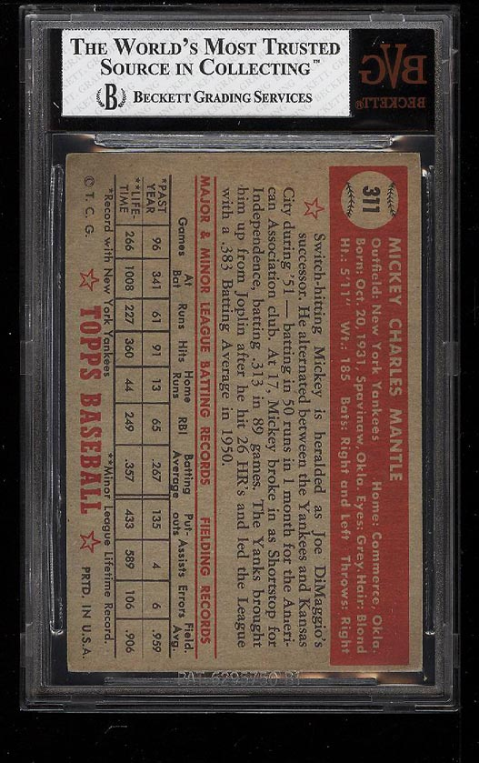 1952 Topps Mickey Mantle #311 BVG 5.5 EX+ (PWCC) - Image 2