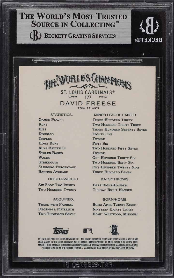 2009 Topps Allen & Ginter David Freese ROOKIE RC #177 BGS 9 MINT - Image 2