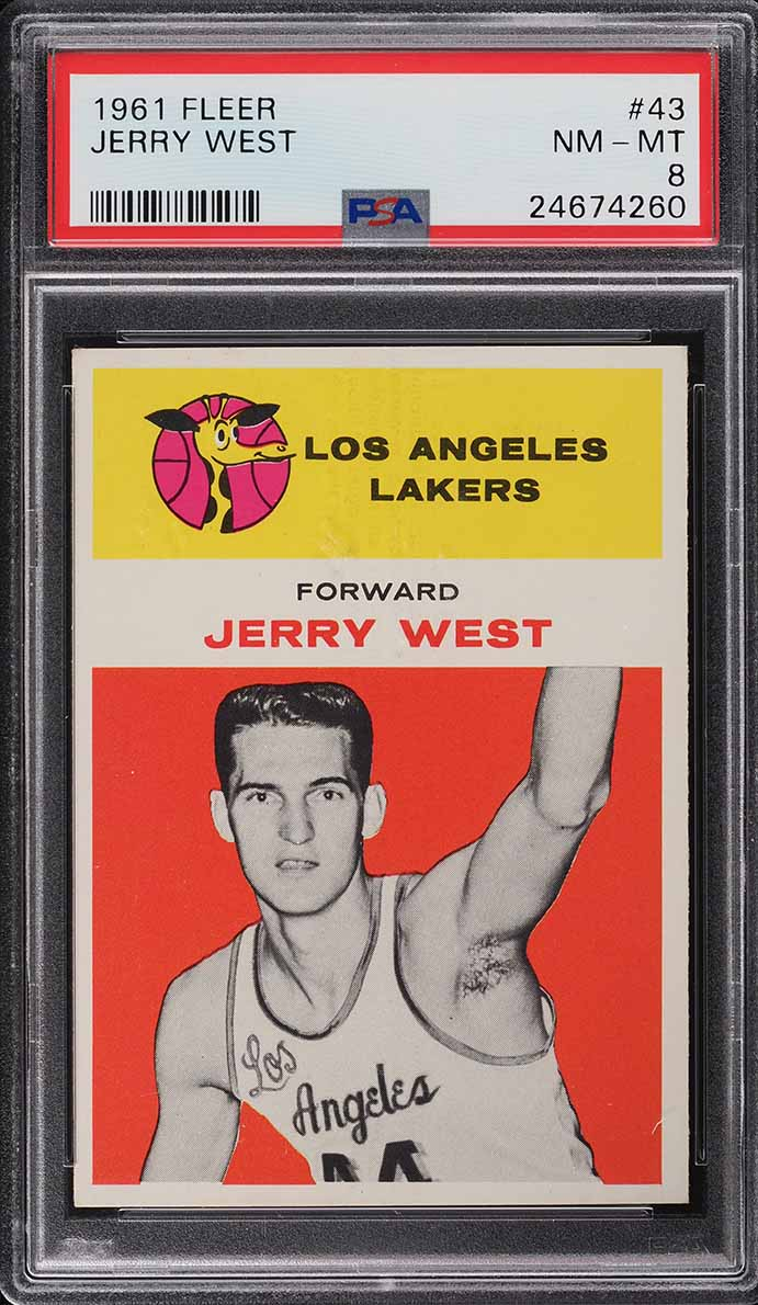 1961 Fleer Basketball Jerry West ROOKIE RC #43 PSA 8 NM-MT - Image 1