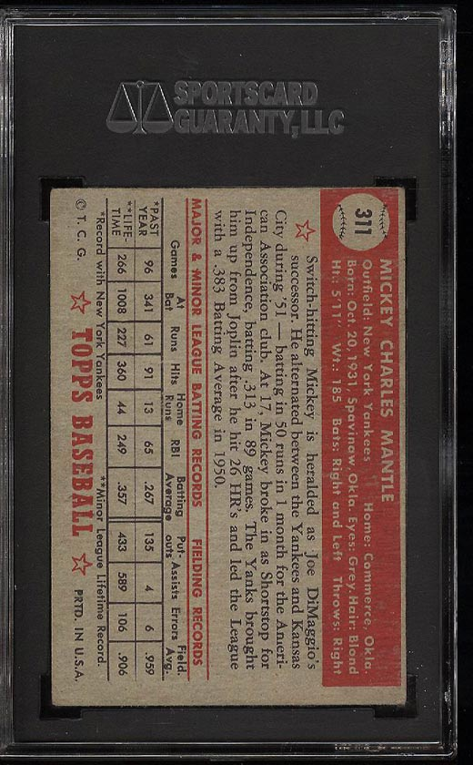 1952 Topps Mickey Mantle #311 SGC 2/30 GD (PWCC) - Image 2