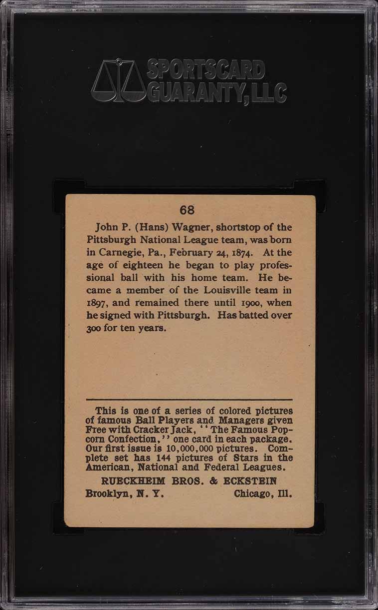 1914 Cracker Jack Honus Wagner #68 SGC 5 EX (PWCC) - Image 2