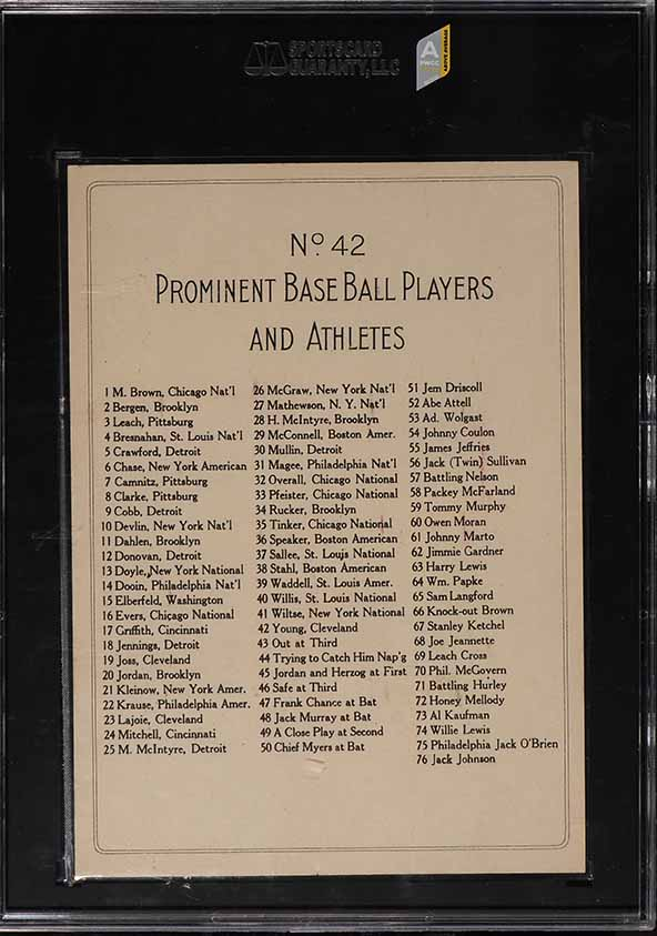 1911 T3 Turkey Red Cy Young CHECKLIST BACK #42 SGC 6 EXMT (PWCC-A) - Image 2