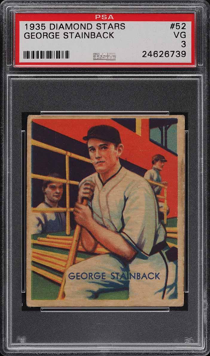1935 Diamond Stars George Stainback #52 PSA 3 VG - Image 1
