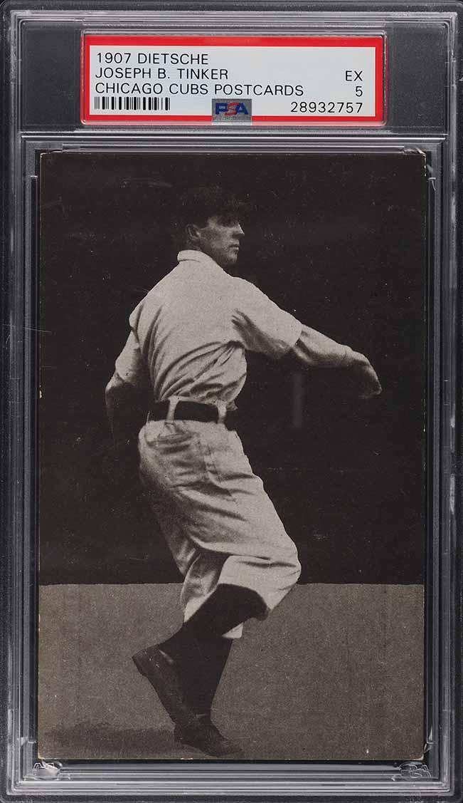 1907 Dietsche Chicago Cubs Postcards Joe Tinker PSA 5 EX - Image 1