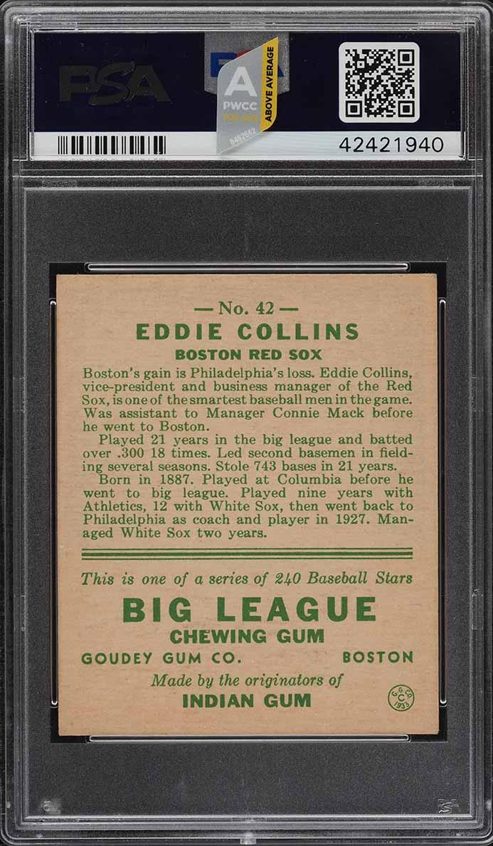 1933 Goudey Eddie Collins #42 PSA 7 NRMT (PWCC-A) - Image 2