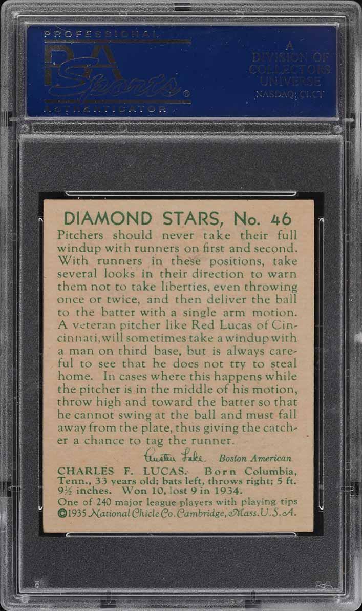 1935 Diamond Stars Red Lucas #46 PSA 6 EXMT - Image 2