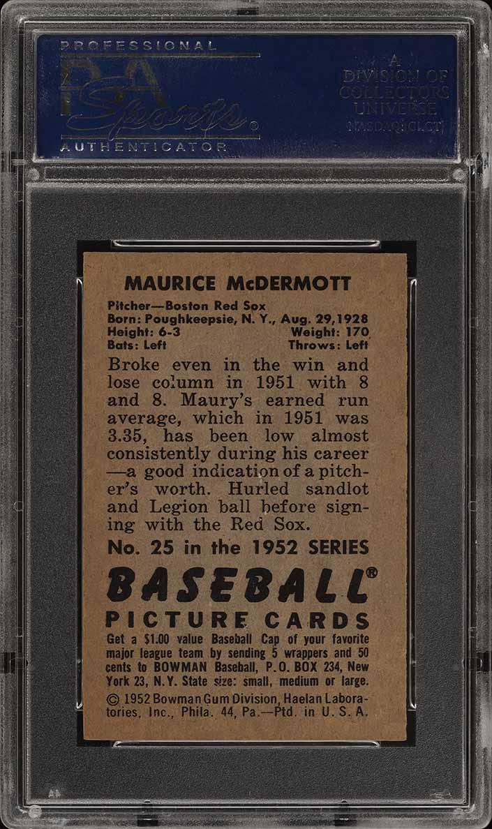 1952 Bowman SETBREAK Maurice McDermott #25 PSA 8 NM-MT (PWCC) - Image 2