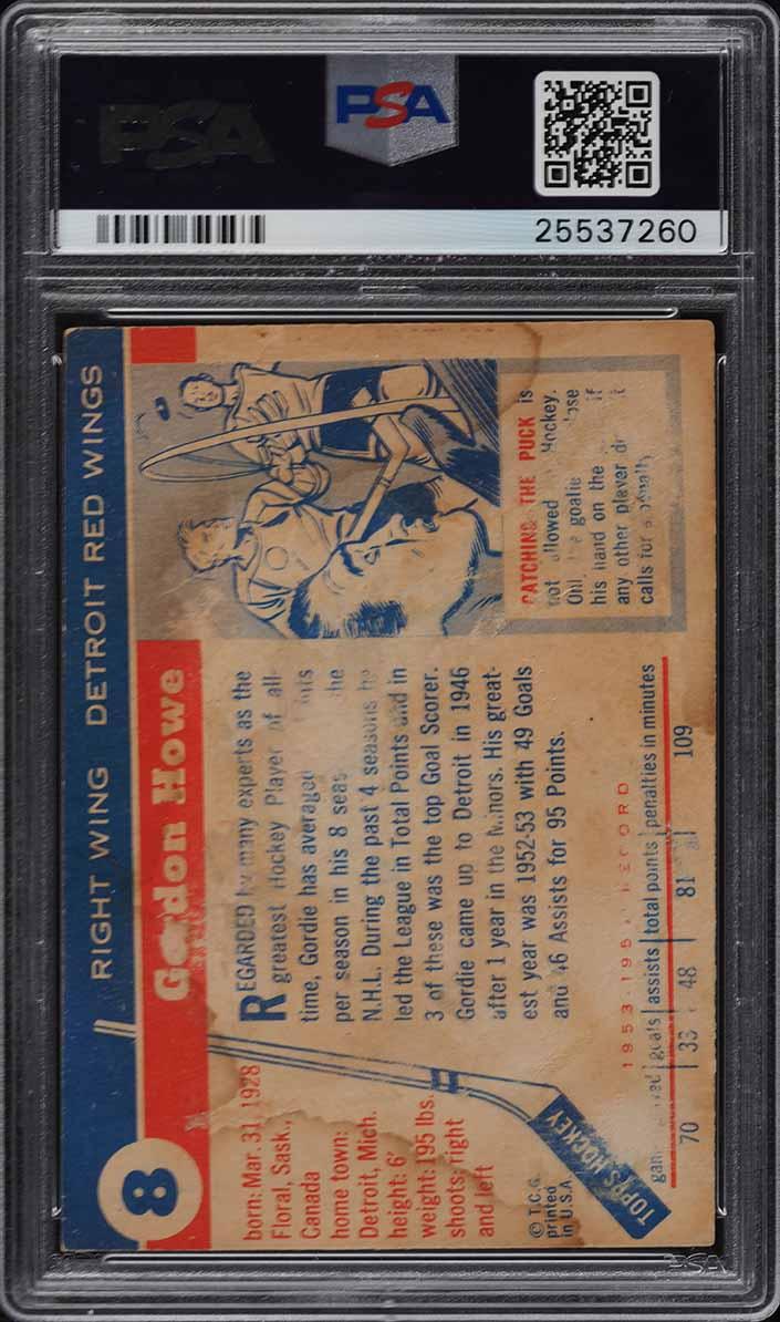 1954 Topps Hockey Gordie Howe #8 PSA 1 PR - Image 2