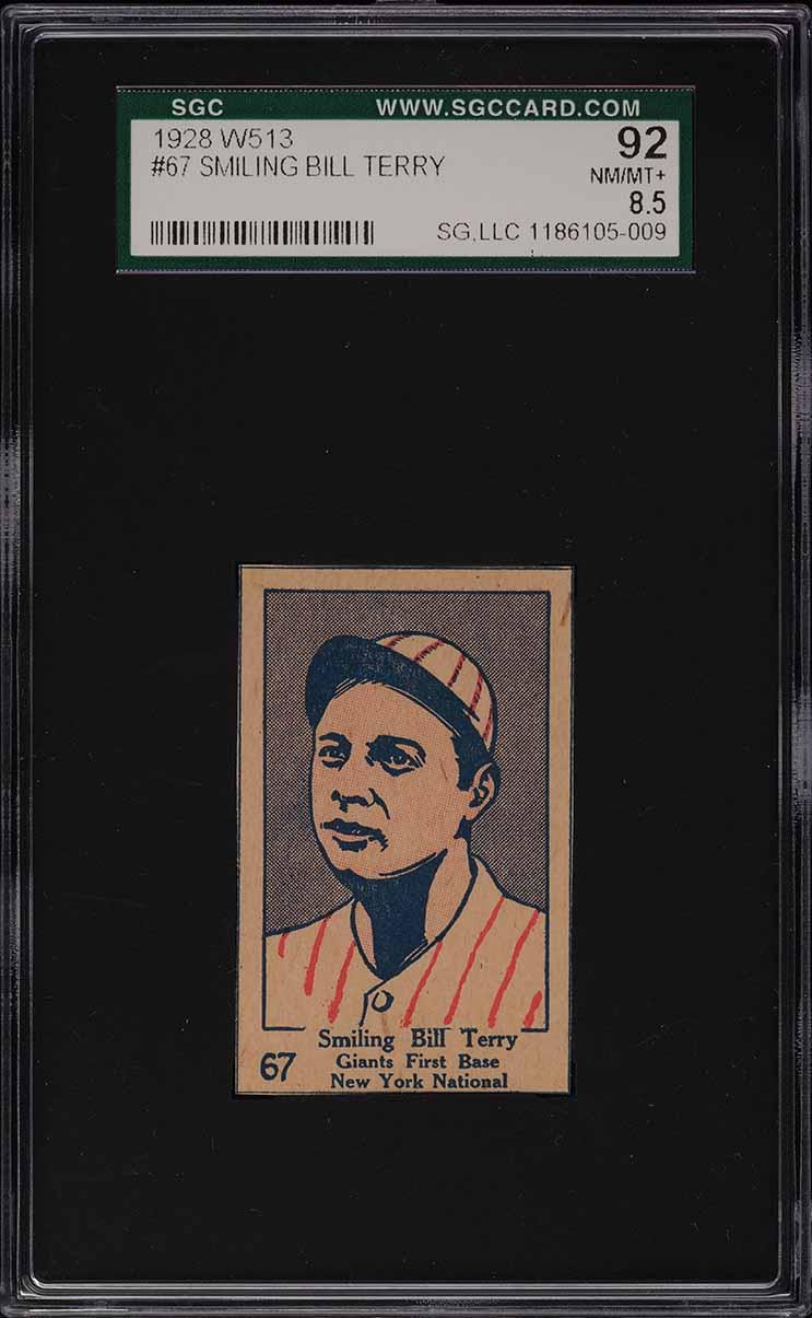 1928 W513 Strip Card Smiling Bill Terry #67 SGC 8.5 NM-MT+ - Image 1