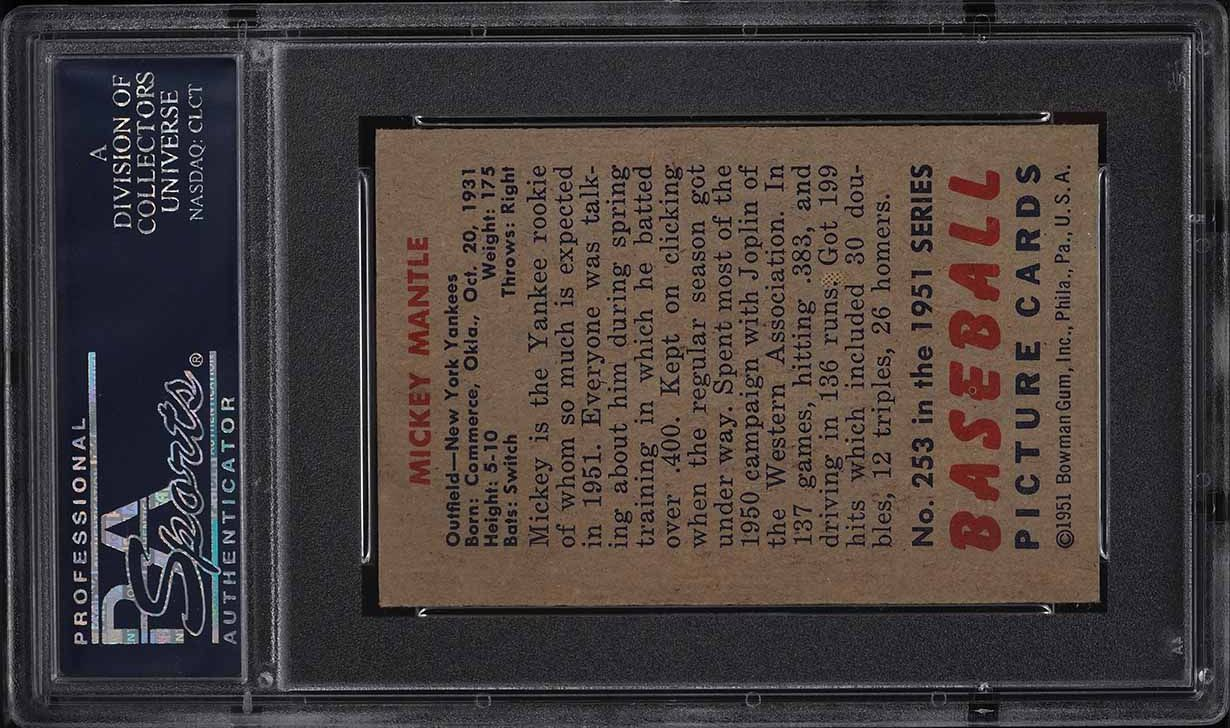 1951 Bowman Mickey Mantle ROOKIE RC #253 PSA 5 EX - Image 2